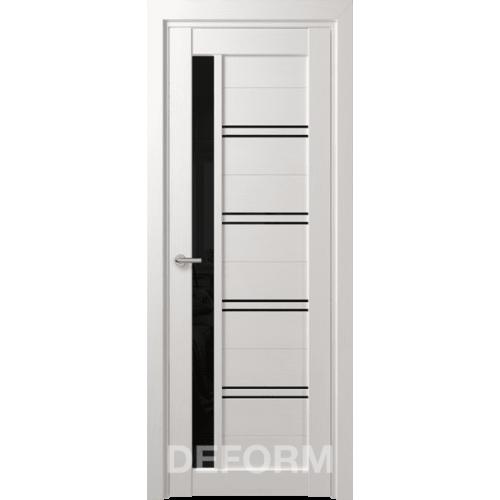 Дверь межкомнатная DEFORM D19 дуб шале снежный черное стекло