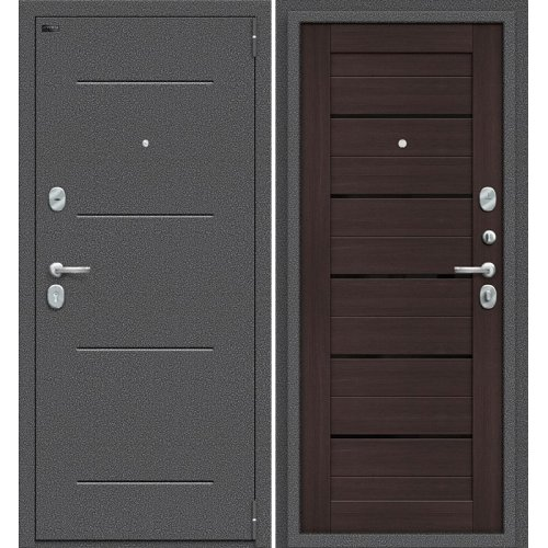 Дверь входная металлическая Эльпорта PORTA S104.П22 (Антик Серебро/ Wenge Veralinga)