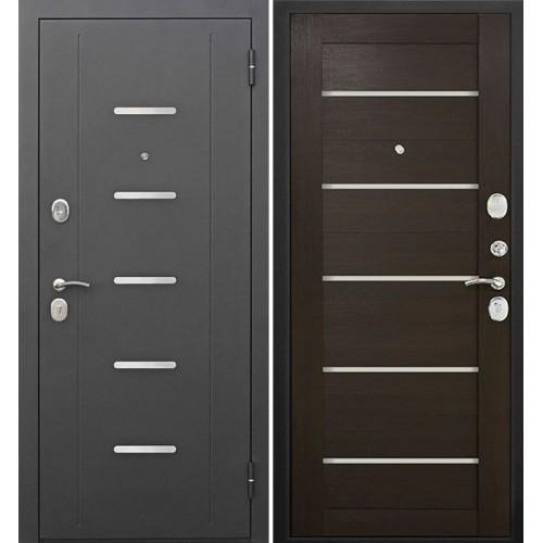 Дверь входная металлическая Гарда муар царга лазер (лиственница  мокко черное стекло)