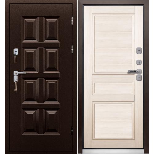 Входная металлическая дверь ПРОМЕТ Винтер (антик медь/беленый дуб)